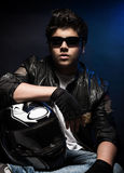 Stylish young biker Stock Image