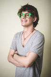 Stylish young blonde hipster man Stock Photography