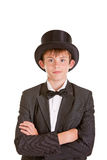 Stylish Young Boy Wearing Vintage Formal Attire Royalty Free Stock Images