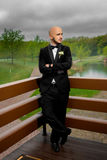 Stylish young bridegroom posing and looking away Stock Photos