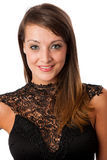 A stylish young brunette woman in black dress in little black dr Stock Images