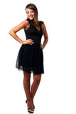 A stylish young brunette woman in black dress in little black dr Royalty Free Stock Photos