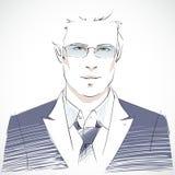 Stylish young businessman portrait vector illustration
