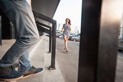 Stylish young couple teenagers in love in the city, summer sunny day Royalty Free Stock Images