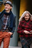 Stylish young couple walk smiling fashion casual Royalty Free Stock Photography