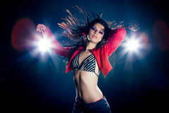 Stylish young dancing girl Stock Photos