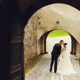 Stylish young fashion groom and bride on the background old vien Stock Photo
