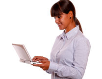 Free Stylish Young Female Working With Laptop Computer Royalty Free Stock Photography - 28164987