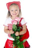 Stylish young girl in red clothes Royalty Free Stock Photography