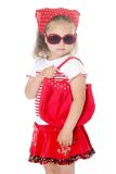 Stylish young girl in red clothes Stock Image