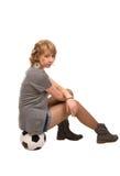 Stylish young girl sitting on Stock Images