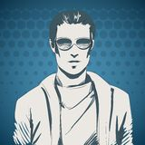 Stylish young guy portrait. Wearing glasses and pullover, sport style vector illustration Royalty Free Stock Photos