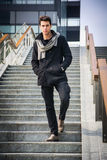 Stylish Young Handsome Man in Black Coat Standing Royalty Free Stock Photos