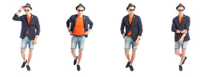Stylish young male dressed in summer clothes. Posing on white studio background Royalty Free Stock Photo