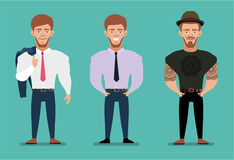 Stylish young man - businessman and hipster. Flat illustration. Cartoon male characters. Stock Photo