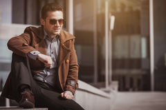 Stylish young man in the city center Stock Photos