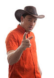 Stylish young man in a cowboy hat Stock Image