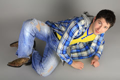 Stylish young man in jeans Royalty Free Stock Photos