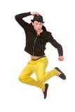 Stylish young man jumping; Royalty Free Stock Photography