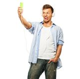 Stylish young man making selfie Stock Photography