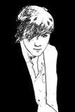 Stylish young man . Monochrome black image. Theme fashion. Portr Royalty Free Stock Photos