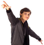 Stylish young man points his hands up and down Royalty Free Stock Images