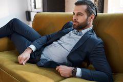 Stylish young man in a suit and bow tie. Business style. Fashionable image. Evening dress. man standing and looking at the camera. Fashion look stock images