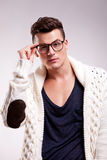 Stylish young man wearing glasses Royalty Free Stock Photography