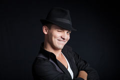 Stylish young man wearing a hat Royalty Free Stock Images