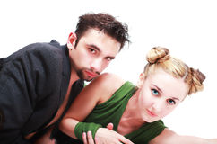 Stylish young man and woman isolated Stock Photo