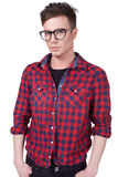 Stylish young men with glasses in the studio Stock Photo