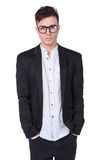 Stylish young men with glasses in the studio Royalty Free Stock Image
