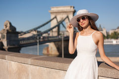 Stylish young tourist woman. Royalty Free Stock Photo