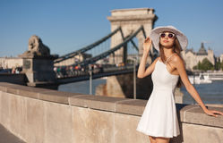 Stylish young tourist woman. Royalty Free Stock Photography