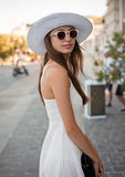 Stylish young tourist woman. Stock Photo