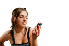 Stylish young woman. Modern looking young woman watching her phone Stock Photo