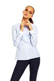 Stylish young woman in casual cloth behind white background Royalty Free Stock Photos