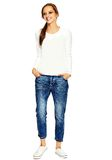 Stylish young woman in casual cloth behind white background Stock Photography