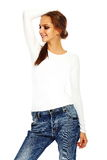 Stylish young woman in casual cloth behind white background Royalty Free Stock Photo