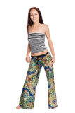 Stylish young woman in fashionable trousers. Stock Photo