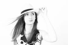 Stylish young woman in a hat Royalty Free Stock Image