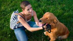 Stylish young woman and her pet dog golden retriever. Stock Images