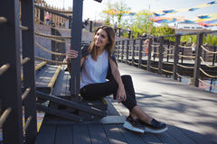 Free Stylish Young Woman On Summer City Walk, Sitting On The Stairs Royalty Free Stock Photos - 94742368