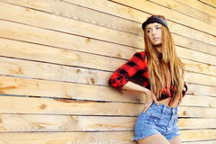 Stylish young woman outdoor fashion portrait - copy space Stock Photo