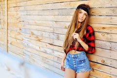 Stylish young woman outdoor portrait Stock Images