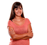 Stylish young woman smiling and looking at you Royalty Free Stock Photo