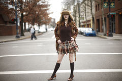 Stylish young woman on street Royalty Free Stock Photo