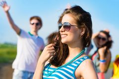 Stylish young woman in sunglasses Stock Photo