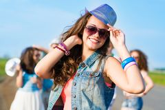 Stylish young woman in sunglasses Stock Photos