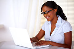 Stylish young woman working on laptop Stock Images